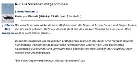 Screenshot von der Litportal Seite mit dem Buch von Arne Frentzel
