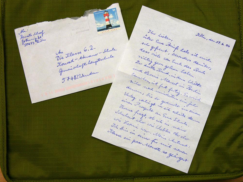 Briefe Für Oma : Renate schoofs brief an die schüler der konrad adenauer
